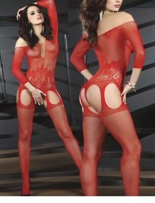 OS A02 Red Exotic Dancer, Stripper Clothes, Body Stocking Fishnet