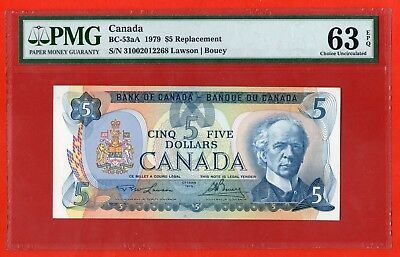 ✪ 1979 $5 Bank of Canada BC-53aA Replacement '31' - PMG CH UNC 63 EPQ