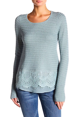 Lucky Brand Women's Size L Scallop Lace Mix Contrast Sweater Knit Teal Blue