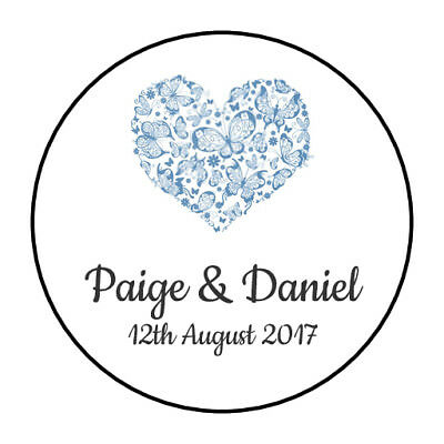 105 Personalised Heart Wedding Stickers/Labels
