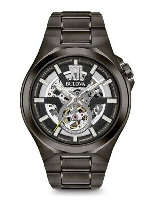 Men's Bulova Automatic Grey IP Watch with Black Skeleton Dial (Model: 98A179)