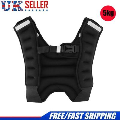 5KG Adjustable Loading Weighted Vest Fitness Weight Loss Jacket Waistcoat UK New