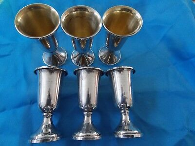 Set of 6 ANTIQUE  STERLING SILVER CORDIALS cups  by WEB SILVER CO