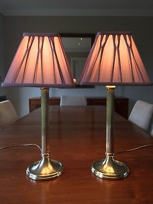 Pair of Vintage M&S Solid Brass Column Lamps with Laura Ashley Silk Shades