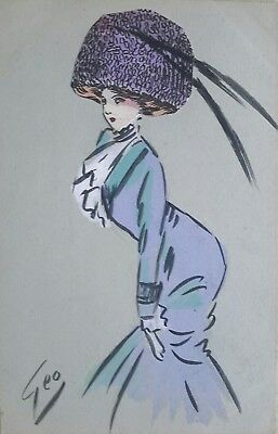 Hand Made French Art Nouveau or Deco Card of Lady in Fancy Hat by Geo 1910/20