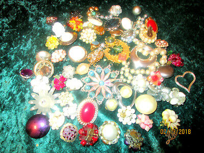 Odd Earring Lot  Vintage To Now Mostly Clip Ons + Some Etc.