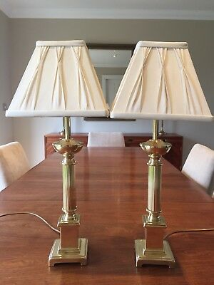 Pair of Vintage Solid Brass Corinthian Column Lamps & Laura Ashley Lampshades