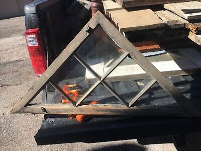 """c1900 triangle gable end window frame sash 35.5"""" x 18"""" x 1.5"""" old putty color"""