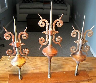 "Three mounted vintage lightning rods,  hand hammered aluminum, 18"" to 21"""