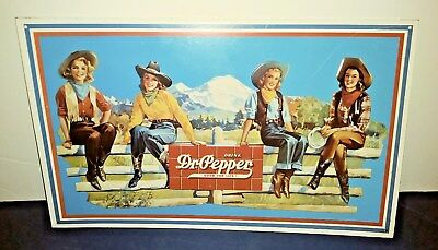 17 X 17 Embossed Dr Pepper With Cow Girls Tin Sign Unused Condition