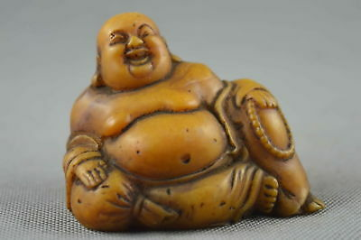 Exquisite Collectable Decorative Old Shoushan Stone Carve Smile Buddha Statue