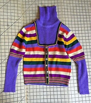 Vtg knit sweater kids 90s by Young Miss colorblocked Retro M Turtleneck Sz 10/12