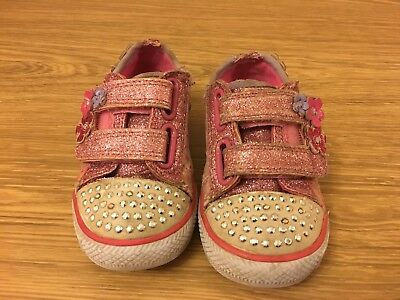 Baby Girls Sketchers Twinkle Toes Light Up Trainers Infant Size 6 UK Still Work