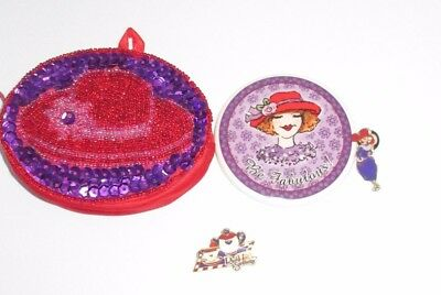 Red Hat Society Gold Tone Enamel 2002 Pins Set Mirror Coin Purse Collectible Lot