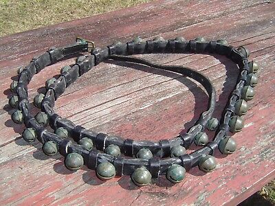 39 BRASS PETAL STYLE SLEIGH BELLS on 7 1/2 Ft. DOUBLE LEATHER NECK/BODY STRAP