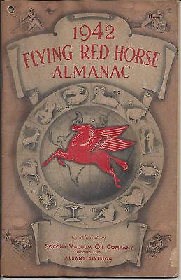 1942 Flying Red Horse Almanac,compliments Of Socony-Vacuum Oil Co. Albany Div.