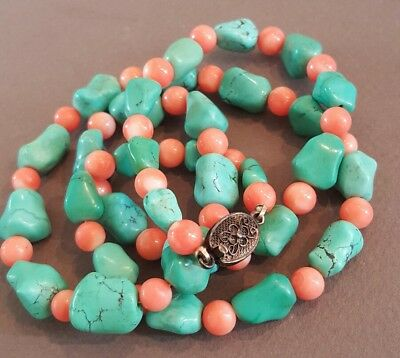Vintage Chinese Turquoise Nugget & Coral Beaded Necklace