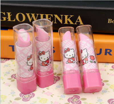 New Hello Kitty Lipstick Design Pink & White Eraser Rubber For Girls 1 Piece