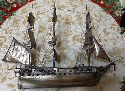 """Solid Sterling Silver 15.5"""" Ship USS Constitution 1082Grams/34.9Toz."""