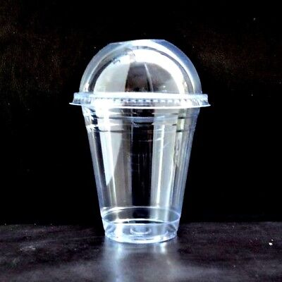 Smoothie Cups and Lids (10oz,12oz & 16oz)-Clear Plastic Domed Lid-Disposable 50