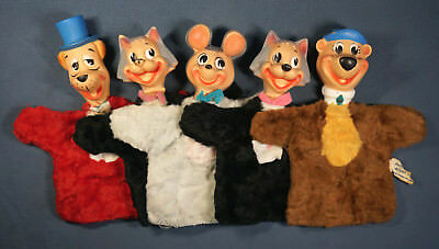 Vintage HUCKELBERRY HOUND Hand PUPPETS 1959 Vinyl Heads BEAR, MOUSE, CAT, DOG