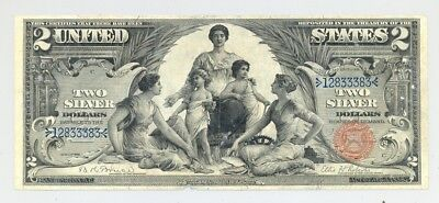 $2 Series 1896 Educational Silver Certificate in Very Fine+, with paper pull