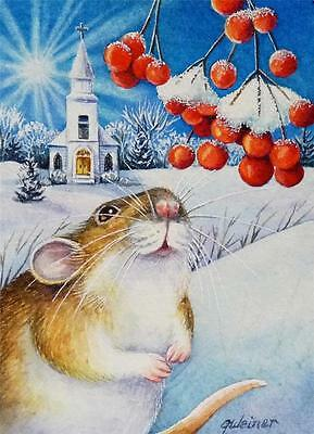 40% OFF SALE! ACEO Limited Edition Print Winter Christmas Mouse Church Berries