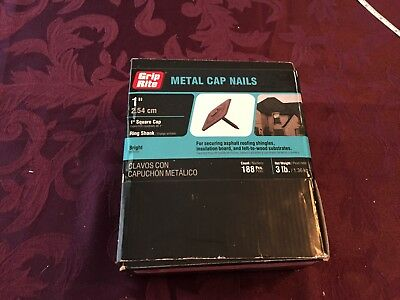 NEW! 188 Grip-Rite #12 x 1 in. Metal Square Cap Roofing Nails 3 lb.-Pack 1MSCAP3