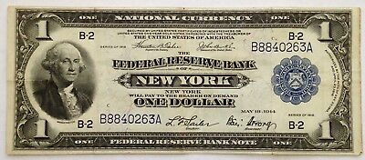 1914 Blue Seal US Federal Reserve Currency Bank Note One Dollar Bill $1NY