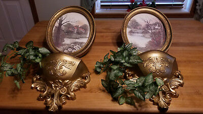 6PC Home Interior Gold Oval Country Scene Pictures with 2 shelves/planters & 2 a