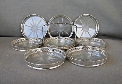 Vintage STERLING SILVER CUT GLASS COASTERS Reticulated Set 8 CADDY Watson Co.