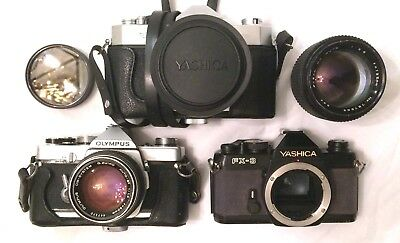 Lot (3) Vintage 35mm Film Cameras Yashica Olympus for Parts/Repair