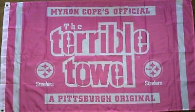 Pittsburgh Steelers Pink Terrible Towel Flag 3x5 ft NFL Banner Breast Cancer