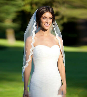 Women Pure white Bride Wedding Wedding Frilly lace Hair head Veil WITH COMB