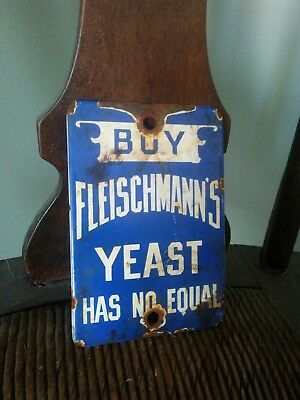 Vintage Fleischmann's Yeast Porcelian Food Backing Restaurant Decor Metal Sign