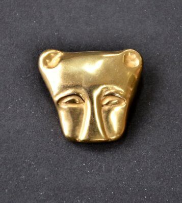 Vintage Gold Tone Lion Face Brooch Pin Pendant Egyptian MMA