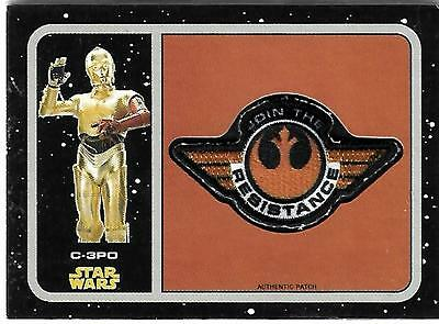 Journey to Star Wars The Force Awakens Manufactured Patch P4 C-3PO Topps - 2015