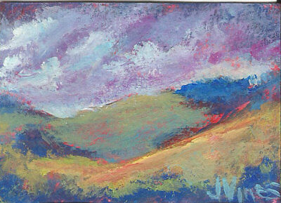 Original Abstract Acrylic Mountains Trees Landscape Painting Hills ACEO ART SFA