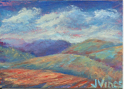 Original Acrylic Abstract Landscape Painting Mountains Farm ACEO ART SFA OOAK NR