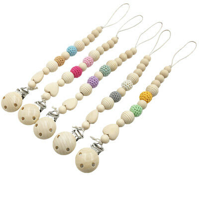 Round Crochet Beads Natural Wooden Baby Dummy Pacifier Clip Chain Soother Holder