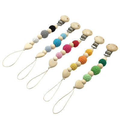 Crochet Wood Beads Baby Dummy Pacifier Chain Soother Wooden Pacifier Clip Holder