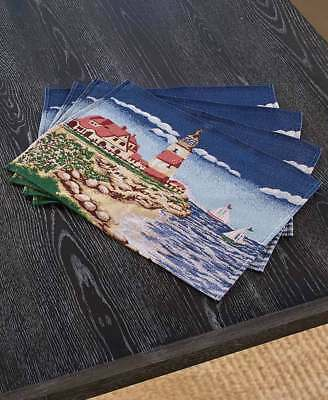 Nautical Lighthouse Tapestry Placemats Coastal Seaside Sailboat Beach Placemats