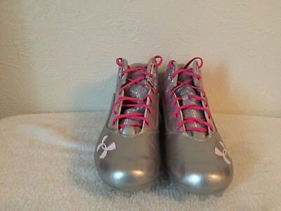 New Under Armour Ripshot Mid MC LaCrosse Cleats Men's Size 11 UA Grey pink