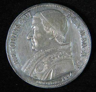 1834 Italian States Papal States Vatican Gregory XVI Silver Scudo Coin