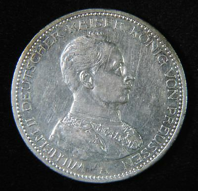 1913 A Germany German Empire Prussia Wilhelm II Silver Funf 5 Mark Coin
