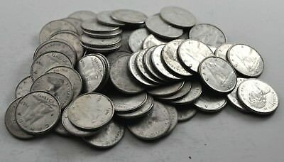 Lot of 75 Canadian Circulated 50% Silver Ten Cent 1968 Coins Dimes (#1033)