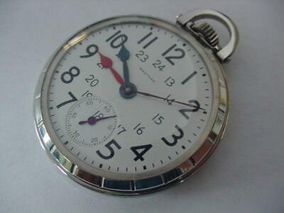AWESOME 16s 21j WALTHAM RIVERSIDE 1936 RAILROAD POCKET WATCH! CONDUCTOR'S!