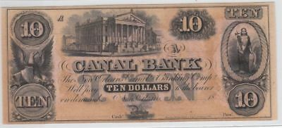 Crisp/Uncirculated 1840's-1850's $10 New Orleans Canal Note (Gallier Hall)...NR!