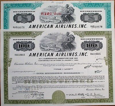 'American Airlines, Inc.' Bond / Stock Certificates, 1970s - TWO DIFFERENT