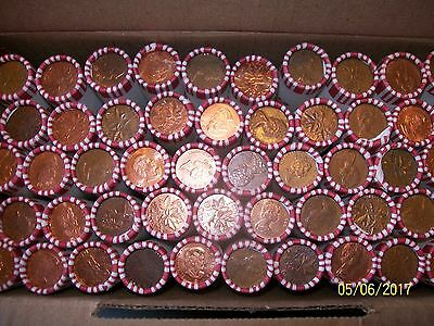 50 rolls canada bank wrapped pennies canadian